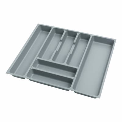 Cutlery Tray - To Suit 600mm Drawer Width - Grey Plastic