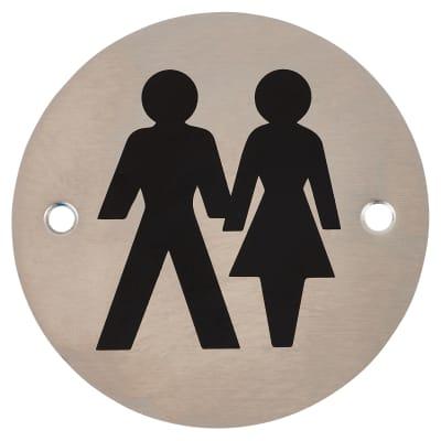 Unisex Toilet Door Sign - 75mm - Satin Stainless Steel