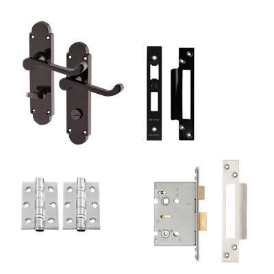 Touchpoint Victorian Summer Bathroom Door Handle Kit - Black Nickel