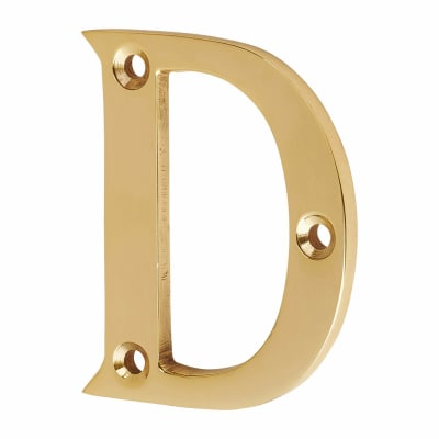 53mm Screw Fixed Letter - D - Polished Brass