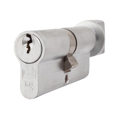 Eurospec 5 Pin 70mm Euro Thumbturn Cylinder - 35mm [Turn] + 35mm - Satin Chrome - Keyed Alike