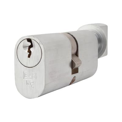 Eurospec 5 Pin 70mm Oval Thumbturn Cylinder - 35mm [Turn] + 35mm - Satin Chrome - Keyed to Differ