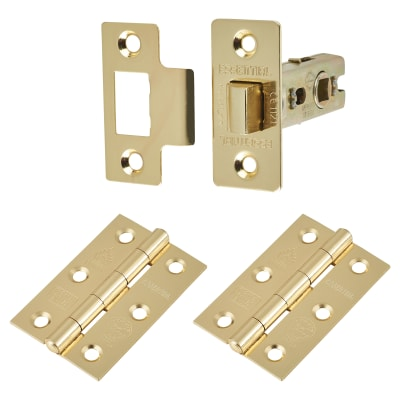 Touchpoint Latch Pack - 57mm Backset - 2 x Plain Steel Hinges - Electro Brass
