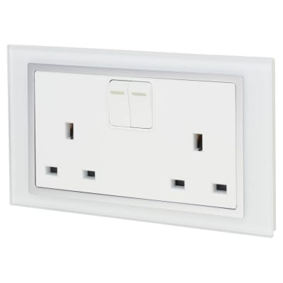 Retrotouch 13A 2 Gang DP Socket - White Glass with Chrome Trim