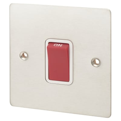 Hamilton Sheer 45A 1 Gang Double Pole Red Switch - Satin Steel with White Inserts