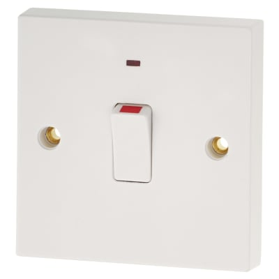 BG 20A 1 Gang Double Pole Switch with Flex Outlet & Neon - White