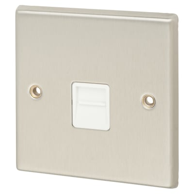 Contactum Telephone Secondary Socket - Brushed Steel with White Inserts