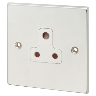 Hamilton Hartland 5A 1 Gang Unswitched Socket - Bright Chrome with White Inserts