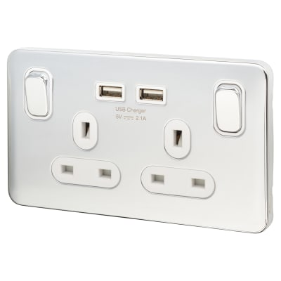 Schneider Lisse 13A 2 Gang Switched Socket with 2 x USB - Polished Chrome with White Inserts