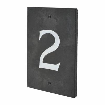Slate Numeral - 2 - 140 x 90mm - Polished Black