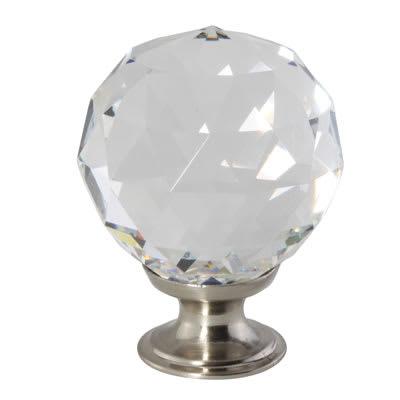 Cut Glass Cabinet Knob - 40mm - Satin Nickel