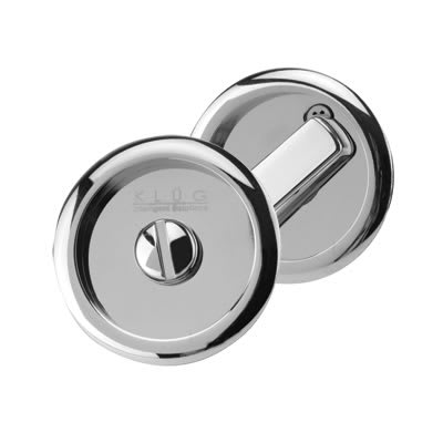 Klug Round Flush Privacy Turn & Release Set - 63mm Diameter - Polished Chrome