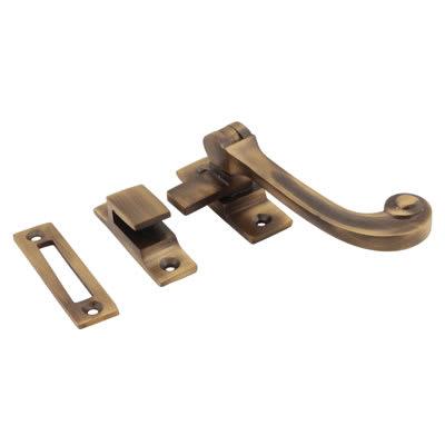 Altro Cast Solid Curl Casement Hook & Plate Fastener - Antique Brass