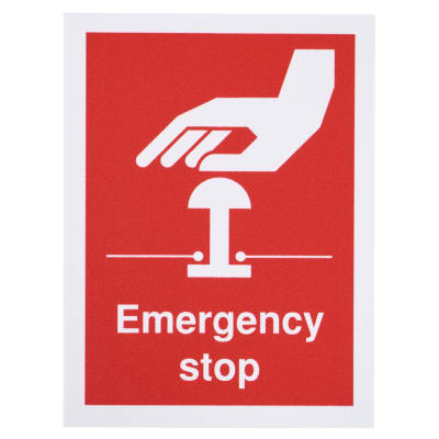 Emergency Stop Sign – 100 x 75mm
