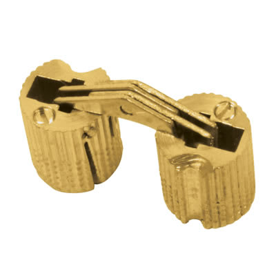 Concealed Rounded Cabinet Hinge - 12mm - Polished Brass - Pair