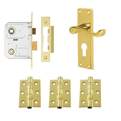 Touchpoint Victorian Scroll Door Handle Lock Kit - Euro - Polished Brass