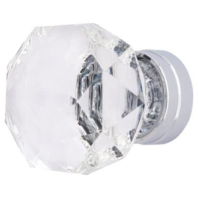 Altro Faceted Cut Glass Domed Cabinet Knob - 43mm - Polished Chrome
