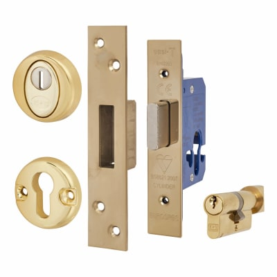 Hampstead BS8621 Euro Deadlock & Thumbturn - Case 78mm - Backset 57mm - PVD Brass - Square Forend