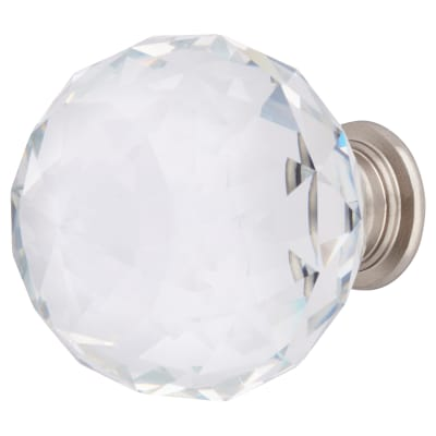 Altro Faceted Cut Glass Cabinet Knob - 40mm - Satin Nickel