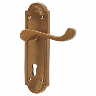 Olde Forge Period Door Lock Handle - Keyhole - Antique Bronze