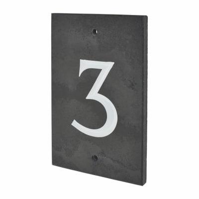 Slate Numeral - 3 - 140 x 90mm - Polished Black