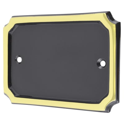 Blank Numeral & Letter Plate - Rectangle - 95 x 135mm - Polished Brass and Black