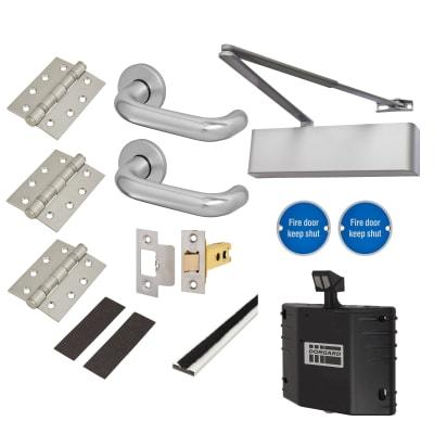 Heavy Duty Lever Door Handle on Rose Fire Door Kit with Hold Open Device - Latch - Aluminium