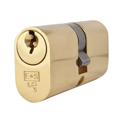Eurospec Oval Double Cylinder - 5 Pin - 30 + 30mm - Polished Brass - Keyed Alike