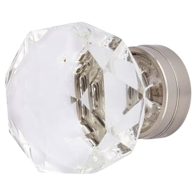 Altro Faceted Cut Glass Domed Cabinet Knob - 43mm - Satin Nickel