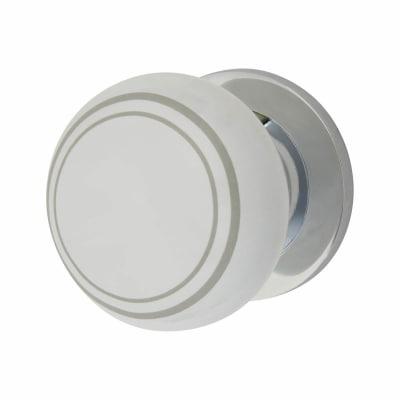 Hampstead Designer Mortice/Rim Door Knob - White Porcelain/Chrome