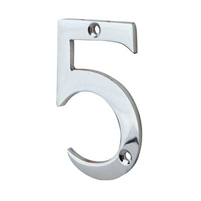 76mm Numeral - 5 - Polished Chrome