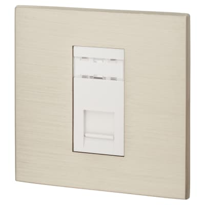 Hamilton Hartland CFX 1 Gang RJ45 Cat 5E Outlet - Satin Steel with White Inserts