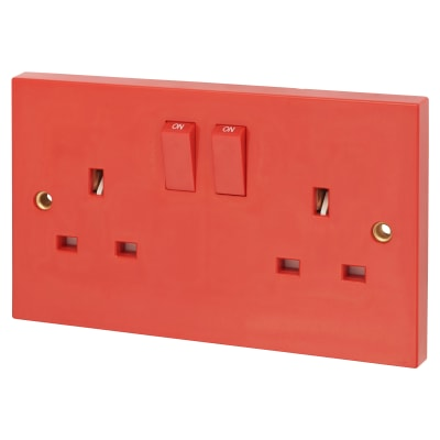 Click Scolmore 13A 2 Gang DP Switched Socket - Red