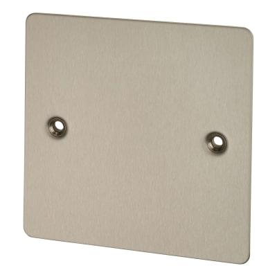 BG 1 Gang Flatplate Blank Plate - Brushed Steel