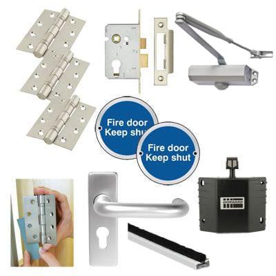 Light Duty Fire Door Handle Kit with Hold Open Device - Satin Aluminium
