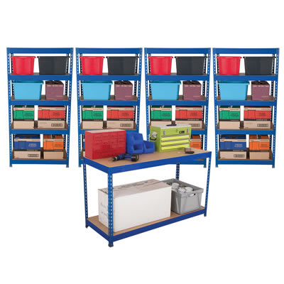 Rapid Racking Shelving and Workbench Kit - 1760 x 900 x 600mm + 1 Bench 900 x 1500 x 600mm