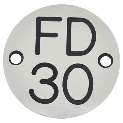FD30 Door Sign Drilled - 50mm - Silver