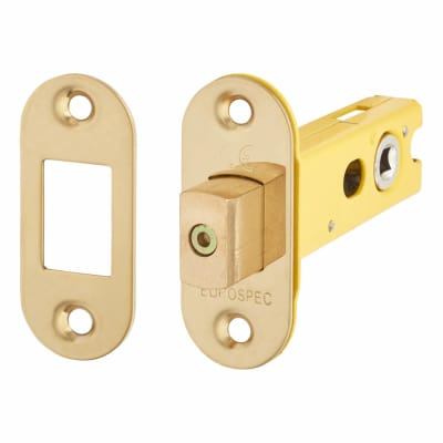 Altro 5mm Tubular Bathroom Deadbolt - 76mm Case - 57mm Backset - Radius - PVD Brass