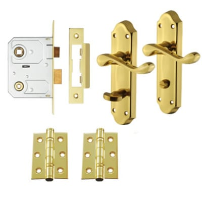 Touchpoint Ashmead Bathroom Door Handle Lock Kit - Polished Brass