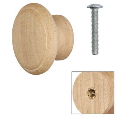 Touchpoint Wooden Cabinet Knob - Raw Maple - with Bolt & Insert - 45mm - Pack 5