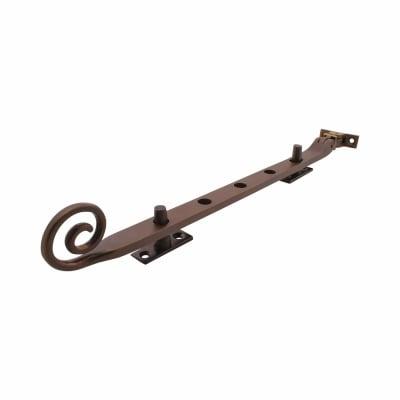 Hampstead Open Curl Window Stay - 12 Inch /300mm - Soft Antique Bronze