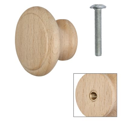 Touchpoint Wooden Cabinet Knob - Raw Beech - with Bolt & Insert - 35mm - Pack 5