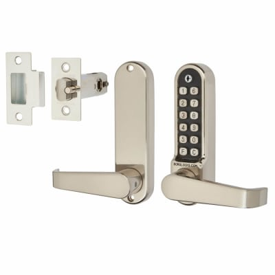 Borglocks BL5401 Easicode Pro Code Operated Lock with Flat Bar Lever Handles - Stainless Steel