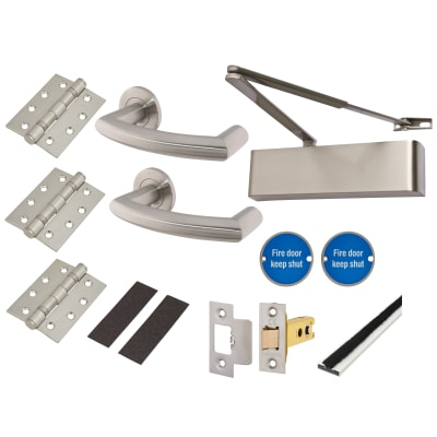 Heavy Duty Lever Door Handle on Rose Fire Door Kit - Latch - Stainless Steel