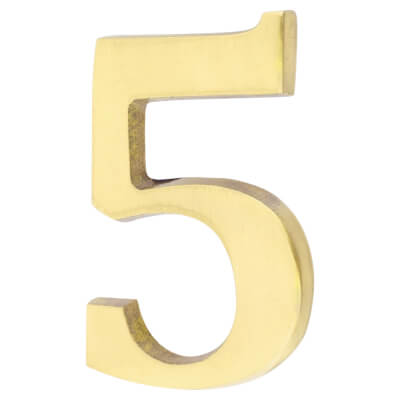 50mm Numeral - 5 - Polished Brass