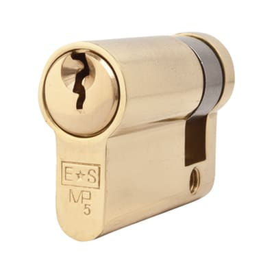Eurospec Euro Single Cylinder - 5 Pin - 35 + 10mm - Polished Brass - Keyed to Differ
