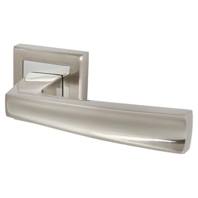 Altro Beta Lever Door Handle on Rose - Satin Nickel/Polished Chrome