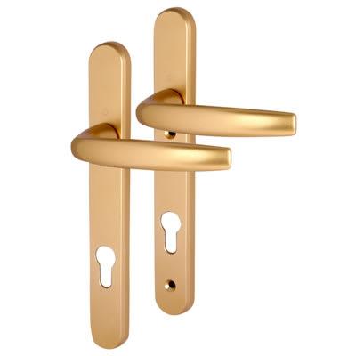 Hoppe Atlanta uPVC Multipoint Door Handle - 92mm c/c - 70mm door thickness - Gold