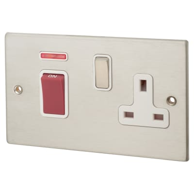 Hamilton Hartland 45A 1 Gang Double Pole Socket with Neon - Satin Steel with White Inserts