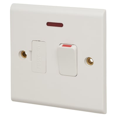 Deta 13A 1 Gang Switch Spur with Neon - White